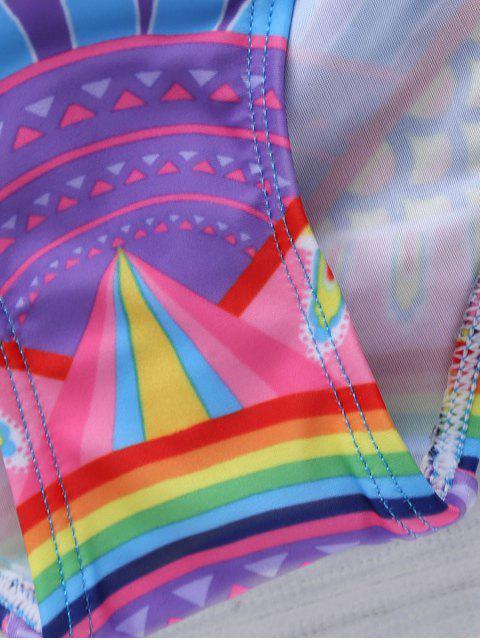 hot Cut Out Printed Strapless Bikini Set - PURPLE L Mobile