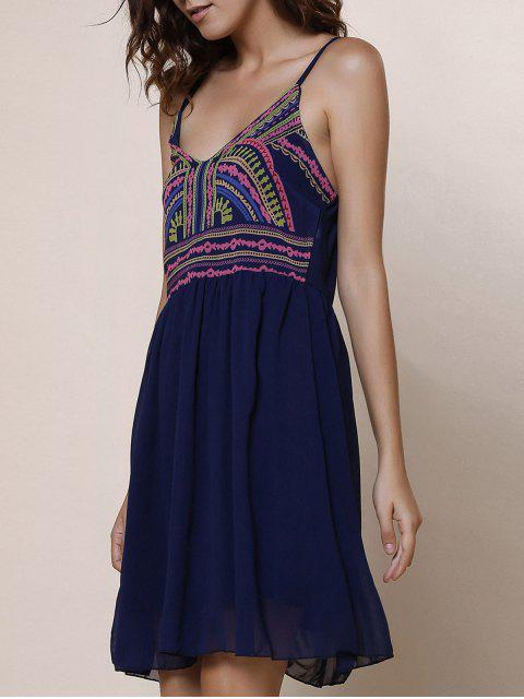 latest Spaghetti Strap Color Block Print Dress - PURPLISH BLUE L Mobile