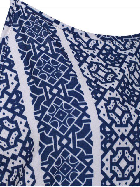 outfits Spaghetti Strap Sleeveless Print Maxi Dress - BLUE AND WHITE XL Mobile
