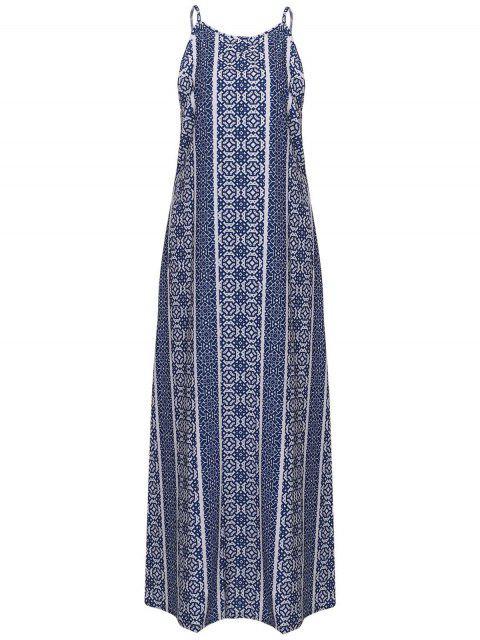 hot Spaghetti Strap Sleeveless Print Maxi Dress - BLUE AND WHITE M Mobile