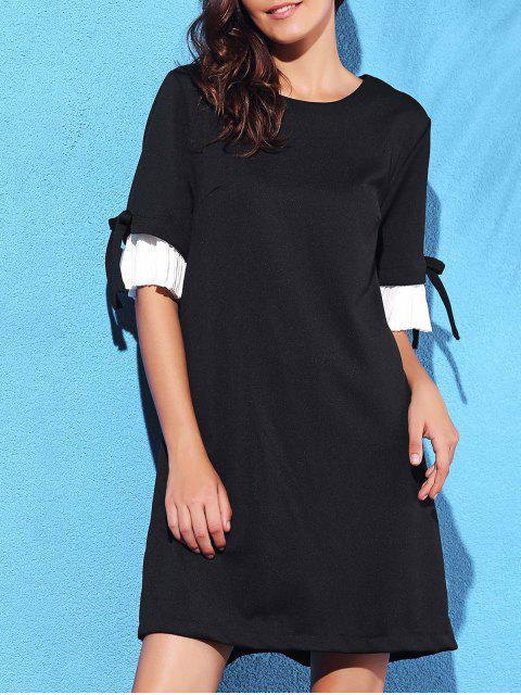 Plissee Spliced Runde Ansatz halbe Hülsen-Kleid - Schwarz L Mobile