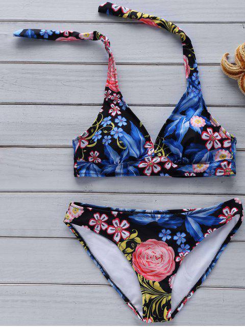 Impresión floral cabestro conjunto del bikini - Azul Marino  S Mobile