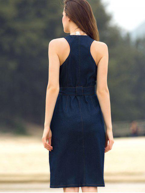hot Blue Denim Sleeveless Zipper Dress - BLUE L Mobile