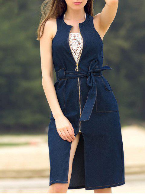 hot Blue Denim Sleeveless Zipper Dress - BLUE L Mobile