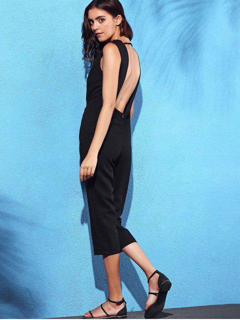 shop Black Hollow Plunging Neck Sleeveless Jumpsuit - BLACK L Mobile
