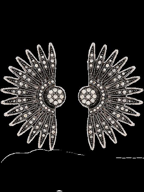 lady Alloy Rhinestone Fan-Shaped Drop Earrings -   Mobile