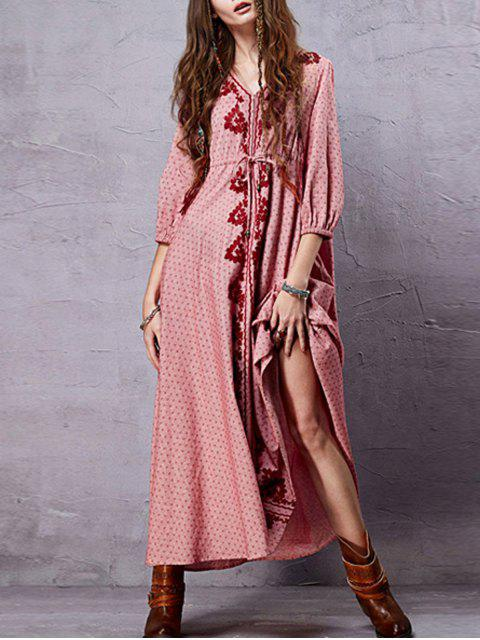 women's Embroidery V Neck 3/4 Sleeve A Line Dress - PINK M Mobile