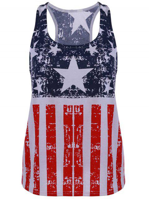 Scoop Neck American Flag Patriotic Tank Top - Bleu et Rouge M Mobile