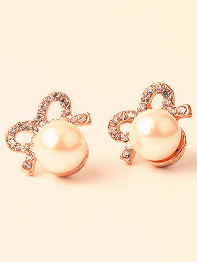 Artificial Pearl Rhinestone Bows Earrings - Golden