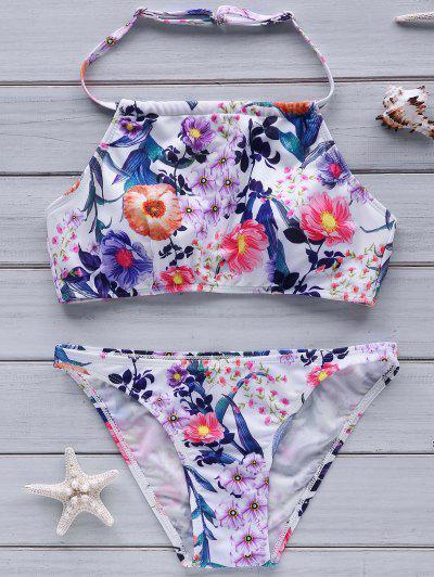 Image of High Neck Flower Print Bikini Set