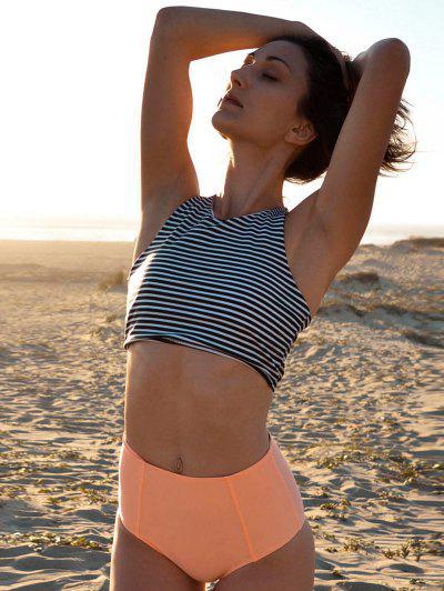 Stripe Round Neck High Waisted Bikini Set - Orangepink M