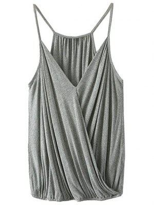 Crossover Draped Cami Tank Top - Gray Xl