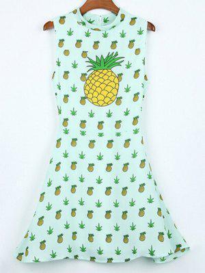 Vestido Con Cuello Levantado Con Estampado De Piñas Sin Manga De Hawai - Verde Claro Xl