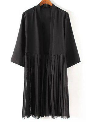 Tassels Spliced 3/4 Sleeve Black Coat - Black M