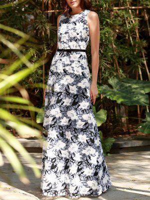 Embroidered Ribbon Waistband Maxi Dress - Xs