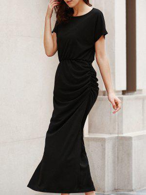 Maxi Vestido Fruncido Con Espalda Abierta - Negro L