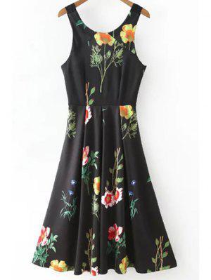 Impresión Floral De La Cucharada Vestido Entallado Cuello - Negro S