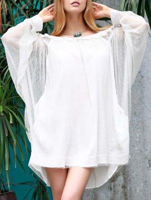 Vestido Trasparente Suelto Fuera Del Hombro Con Manga De Murciélago - Blanco L