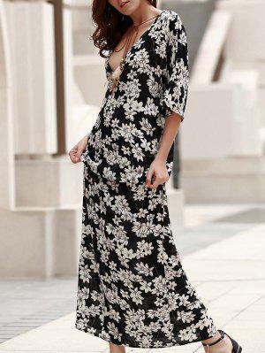 Vestido De Bohemia Con Estampado Con Cuello En V - Negro S