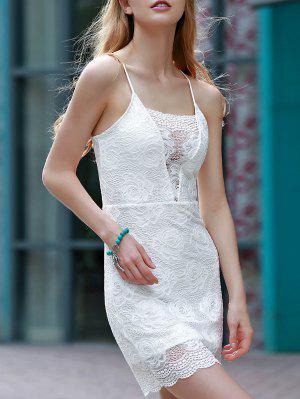 Blanc Backless Lace Border Cross Halter Robe Sans Manches - Blanc L
