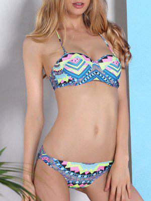 Géométrique Imprimer Halterneck Bikini - M