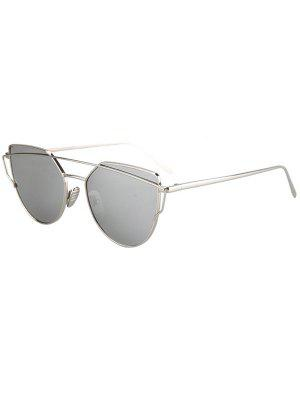Metal Bar Silver Frame Sunglasses - Silver