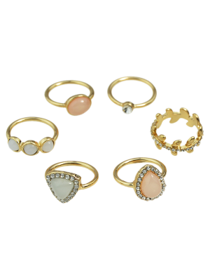 Faux Opal Rhinestone Water Drop Rings