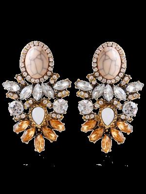 Faux Cristal Strass Alliage Ovale Boucles D'oreilles - Brun