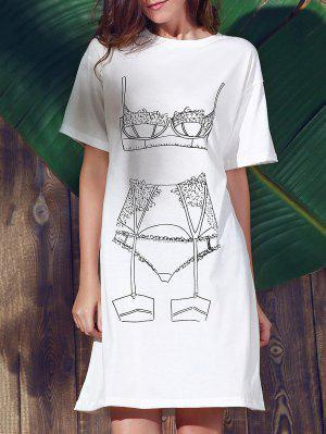 Vestir De Manga Corta Floja Ocasional Impreso Alrededor Del Cuello - Blanco S