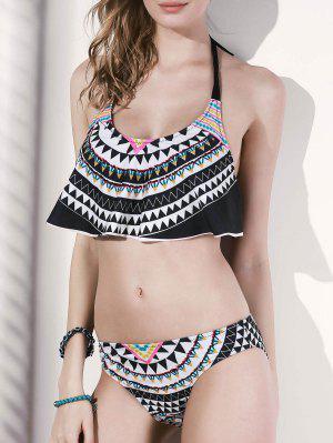 Geometric Pattern Halter Bikini Set - Black L
