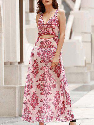 Maxi Vestido De Playa Con Cintura Escotado - Rojo Con Blanco Xl
