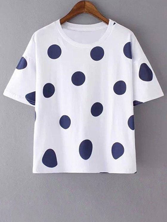 Polka Dot Round Neck Short Sleeves T-Shirt - WHITE L