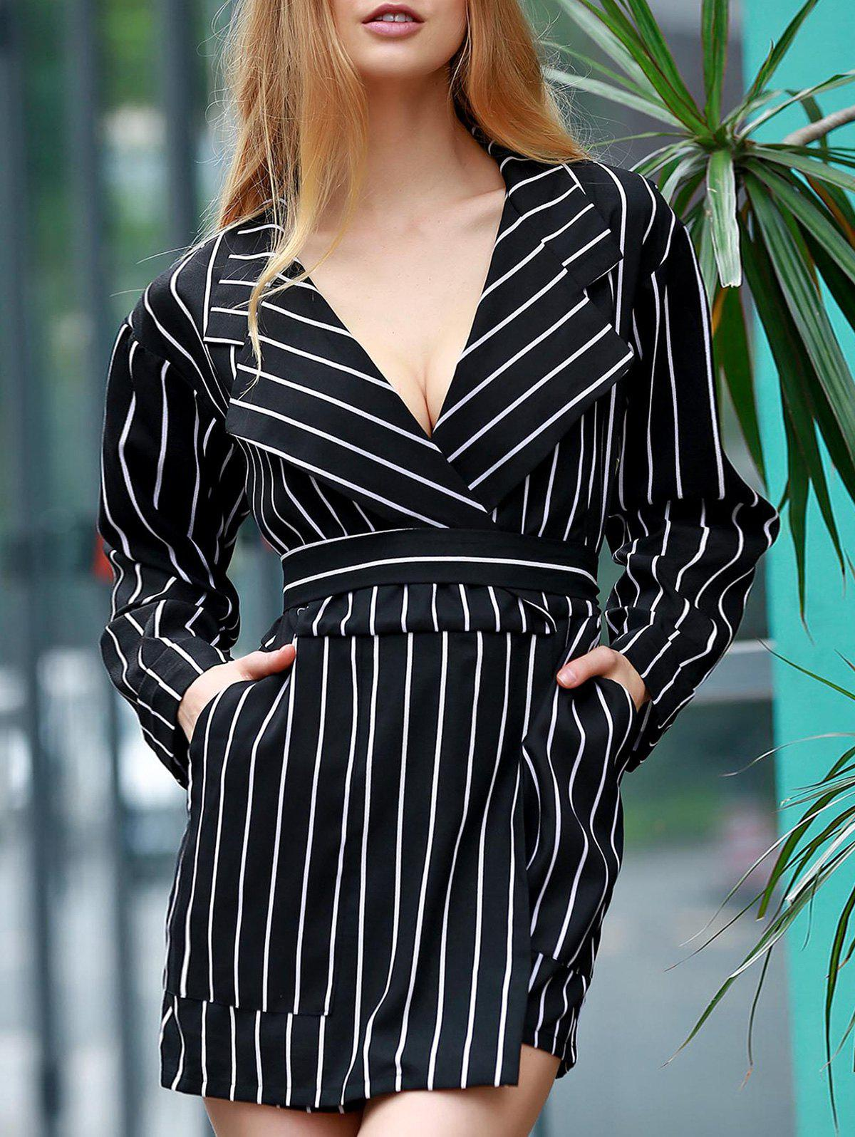 Striped Waisted Corset Lapel Collar Long Sleeve Playsuit