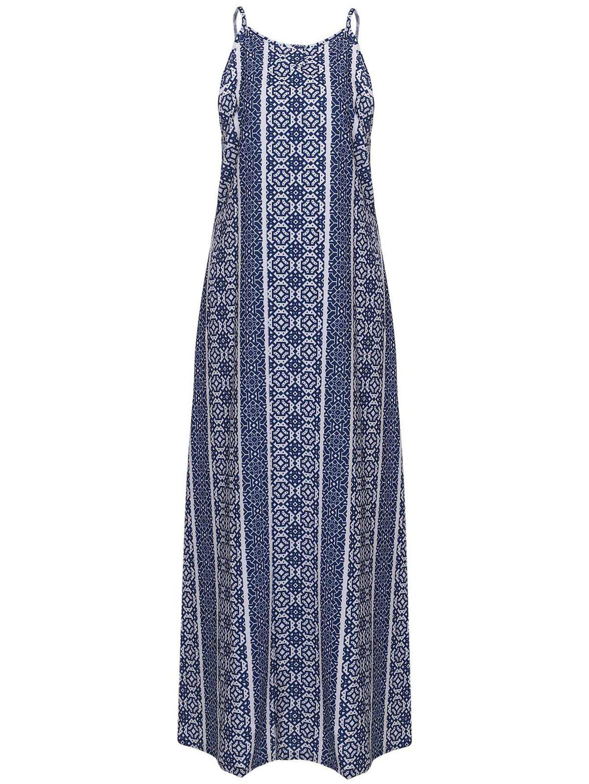 Spaghetti Strap Sleeveless Print Maxi Dress 135855702