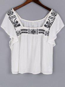 Embroidery Square Neck Short Sleeve Blouse - White L