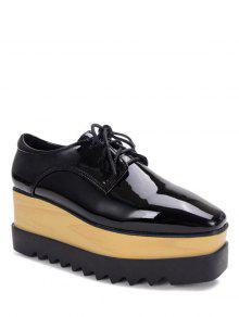 Negro Con Cordones De Zapatos De La Plataforma Del Cuero De Patente - Negro 36