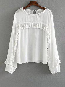White Fringe Long Sleeve Blouse - White L