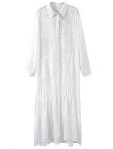 Solid Color Embroidery Turn-Down Collar Long Sleeve Dress - White M