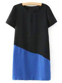 Color Block Short Sleeve Round Collar T-Shirt Dress - Blue M