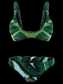 c2ce288b4c 35% OFF  2019 Palm Tree Braided Cami Bikini Set In GREEN M