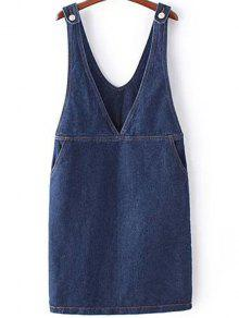 Buy Solid Color Plunging Neck Sleeveless Denim Dress ONE SIZE(FIT SIZE XS TO M) BLUE