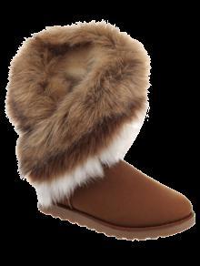 Color Block Faux Fur Snow Boots - Brown 40