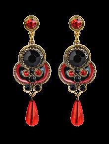Boucles D'oreilles En Strass Faux Bijoux Pendentif De Goutte - Rouge