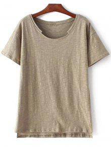 Short Sleeve High Low Hem Round Neck T-Shirt - Army Green M