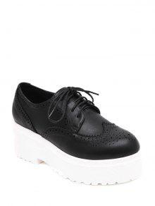 حذاء مثقب بنعل سميك ورباط - أسود 35