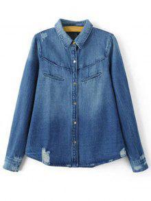 Ripped Turn-Down Collar Long Sleeve Denim Shirt - BLUE L