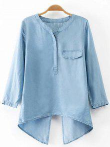 Back Slit Stand Neck 3/4 Sleeve Denim Blouse - Light Blue S