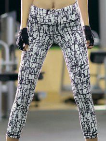 Printed Slim Fit Cropped Pants - White M