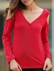 Cold Shoulder Plunging Neck Solid Color T-Shirt - Wine Red 2xl