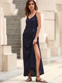Low Back High Slit Long Flowing Dress BLUE: Maxi Dresses S | ZAFUL